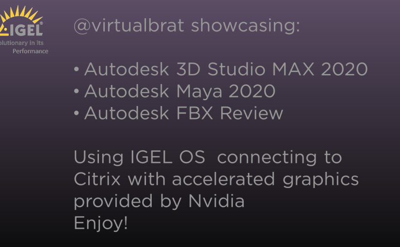 IGEL OS entering the 3D Animation/Movie studios!